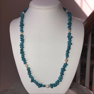 Arizona Blue Turquoise & Pearl Strand Necklace